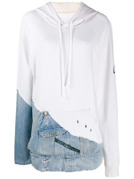 Greg Lauren hoodie with denim patch - White