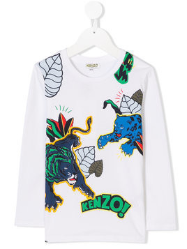Kenzo Kids jungle print T-shirt - White