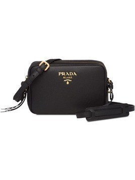 Prada black logo leather shoulder bag