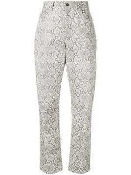 Georgia Alice python print trousers - White