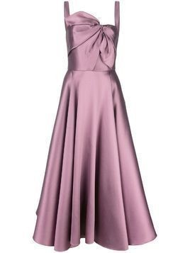 Marchesa Notte knot flared gown - Purple