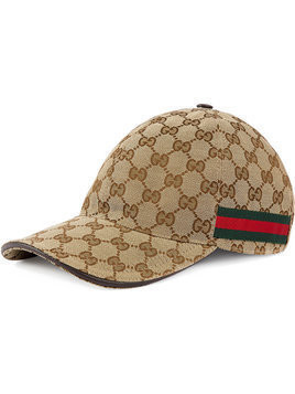 Gucci - Original GG canvas baseball hat with Web - Herren - Cotton/Polyamide/Polyester - XL - Nude & Neutrals