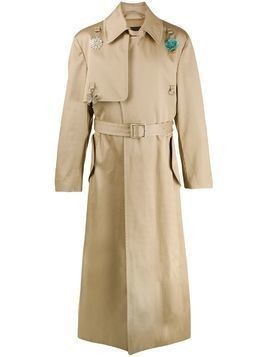Raf Simons charm long trench coat - NEUTRALS