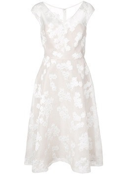 Lela Rose floral embroidered flared dress - White