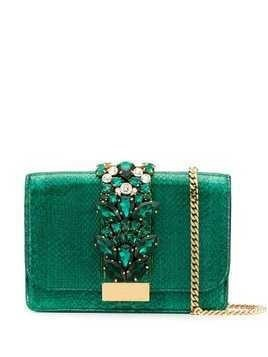 Gedebe Clicky snakeskin effect clutch - Green