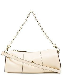 Manu Atelier mini cylinder logo plaque shoulder bag - NEUTRALS