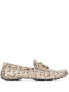 Just Cavalli snakeskin-pattern loafers - Brown