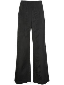 Batsheva high-rise moiré flared trousers - Black