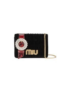 Miu Miu Black Velvet matelassébuckle bag
