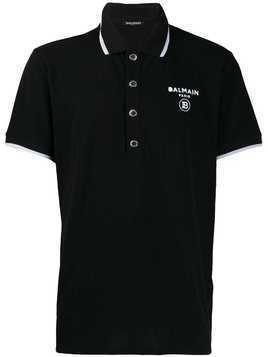 Balmain logo print polo shirt - Black
