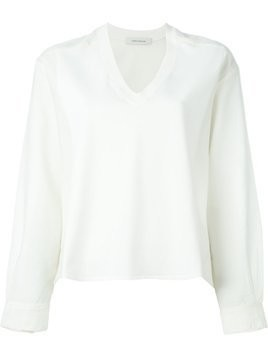 Cédric Charlier v-neck longsleeved top - Nude & Neutrals
