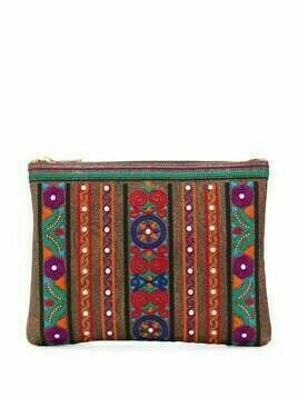Etro embroidered make-up bag - Brown