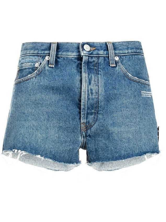 Off-White cut-off denim shorts - Blue