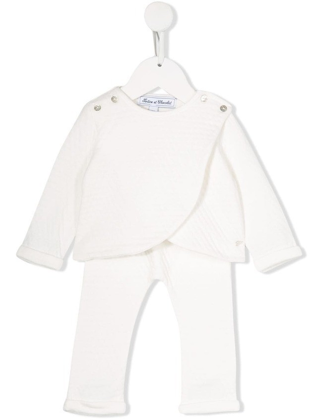 Tartine Et Chocolat ribbed knit cut-out tracksuit - White