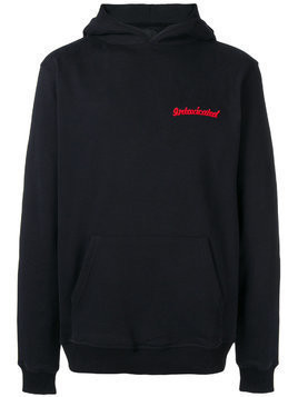 Intoxicated logo embroidered eagle hoodie - Black
