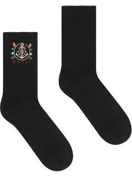 Gucci embroidered logo socks - Black