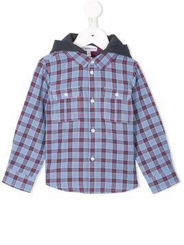 Emporio Armani Kids hooded checked shirt - Blue