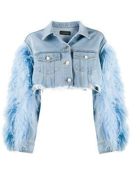 David Koma feather-trimmed cropped denim jacket - Blue