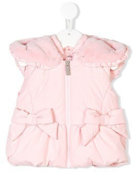 Lapin House hooded padded bow gilet - Pink & Purple