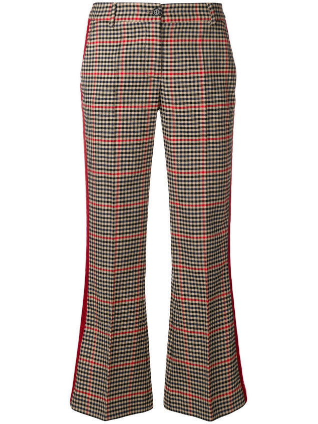 P.A.R.O.S.H. checked kickflare trousers - Nude & Neutrals