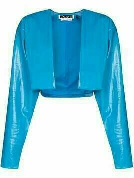 ROTATE Magrit cropped vegan leather jacket - Blue