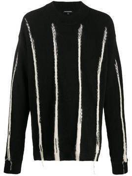 Ann Demeulemeester striped fuzzy knit jumper - Black