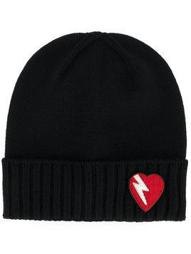 Saint Laurent - lightning bolt heart patch hat - Damen - Wool - M - Black