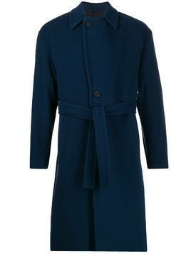 Hevo belted single breasted coat - Blue