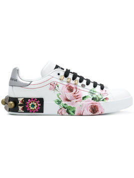 Dolce & Gabbana printed low top sneakers - White
