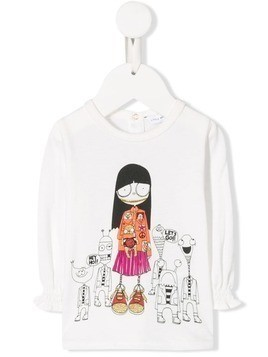 Little Marc Jacobs ruffled printed T-shirt - White
