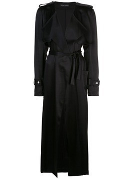 David Koma satin trench coat - Black
