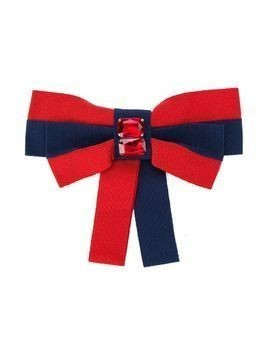 Piccola Ludo grosgrain ribbon bow brooch - Red
