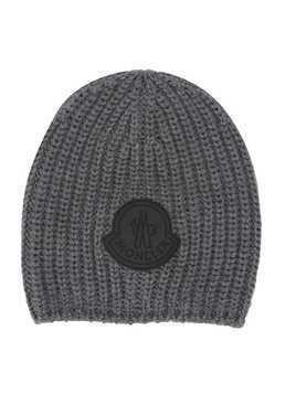 Moncler Kids ribbed beanie - Grey