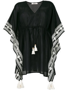 Tory Burch - embroidered kaftan - Damen - Cotton/Polyester - XS/S - Black