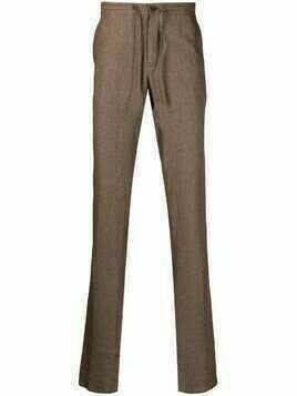 Loro Piana chenille-texture drawstring-waist trousers - Brown