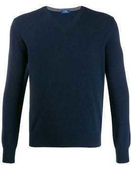 Barba V-neck jumper - Blue