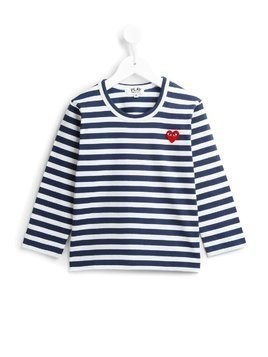 Comme Des Garçons Play Kids striped T-shirt - Blue