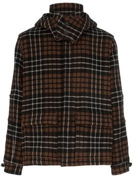 Lou Dalton x Gloverall check print knitted hooded jacket - Brown