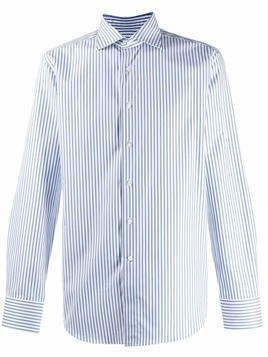 Canali striped long-sleeved shirt - White