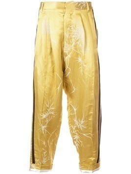 Haider Ackermann printed drop-crotch trousers - Yellow & Orange