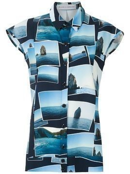 Gloria Coelho printed sleeveless shirt - Blue