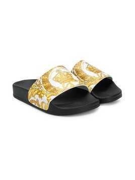 Young Versace baroque strap slides - White