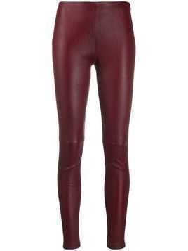 Manokhi high waisted leather leggings - Red