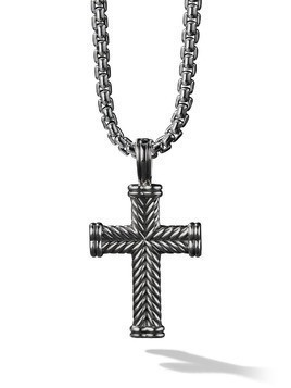 David Yurman Silver Chevron Cross Enhancer pendant