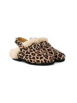 Gallucci Kids leopard-print shearling slippers - Brown