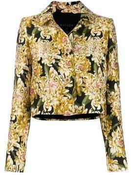 Escada floral brocade cropped jacket - Yellow