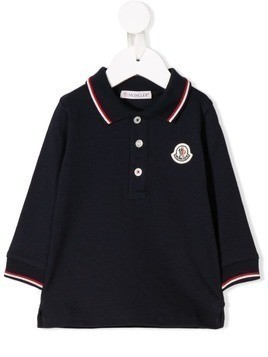 Moncler Kids logo patch polo top - Blue