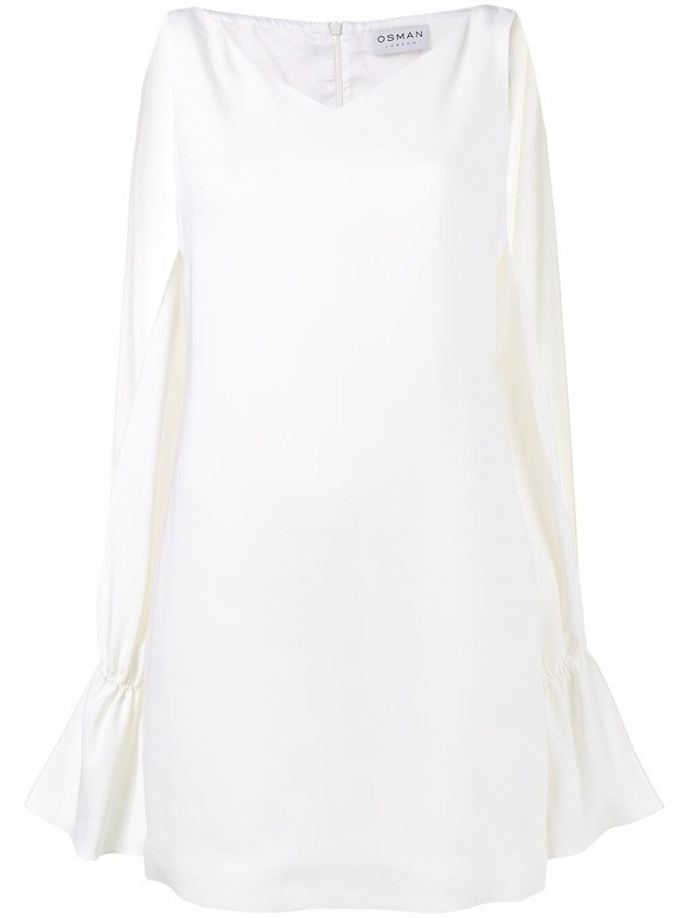 Osman Camilla slit long sleeve dress - White
