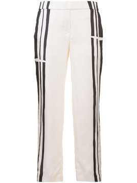 Theory stripe panel soft trousers - White
