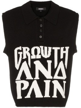 Charm's Growth boxy fit knitted sleeveless polo shirt - Black